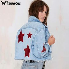 2016 Spring new fashion women denim jacket long sleeve star patchwork embroidery casual short jackets SC2165