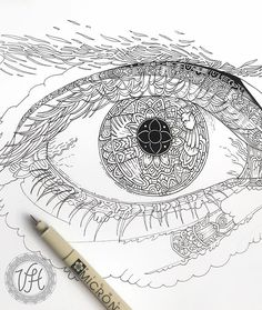 Work in progress picture of my entry to the #eyecompetition2017 hosted by the great @dinotomic 😃Not sure how this is going to end up looking like, I didn't really have a clear vision when I started drawing this. Excited to see what kind of drawings people are going to create! 👀#WIP