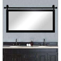 Gracie Oaks Nicholle Bathroom/Vanity Wall Mirror Size: H x W, Finish: Black Satin Vanity Mirror, Mirror Set, Vanity, Tongue And Groove Panelling, Wall Paneling, Accent Mirrors, Laurel Foundry Modern Farmhouse, Vanity Wall Mirror, Modern