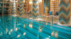 Like everything about the BURJ AL ARAB, the pool on the 18th floor (more like the 36th, since each floor is nearly double height) is outrageous — proof that maximalism is alive and well.
