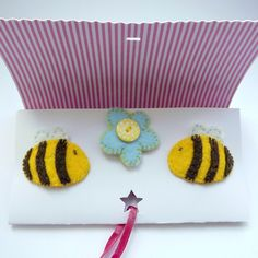 Bee Felt Hairclips - Folksy