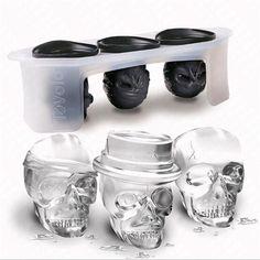 $9.03 AUD - Set Of 3 Silicone Skull Shape Ice Cube Tray Halloween Drinks Bar Dining Fun Lg #ebay #Home & Garden