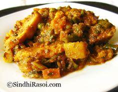 sindhi mix vegetable: Spinach, methi, arbi, okra, lotus root