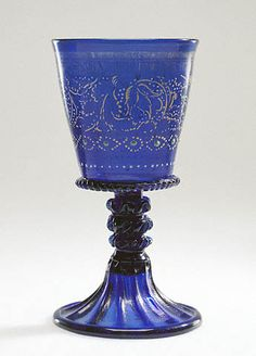 Goblet  Unknown   Italian, Murano, about 1500   Free-blown and mold-blown cobalt-blue glass with gold-leaf, enamel, and applied decoration