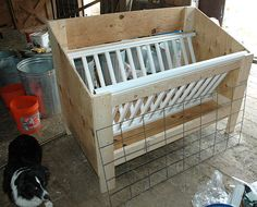DIY Low Waste Hay Feeder- this would work really well with disbudded or dehorned goats
