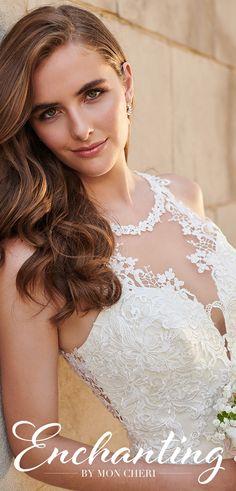 Enchanting by Mon Cheri 120164 Bridal Gowns, Wedding Dresses, Illusion Neckline, Chapel Train, Mon Cheri, Covered Buttons, Lace Applique, Fit And Flare, Lace Trim