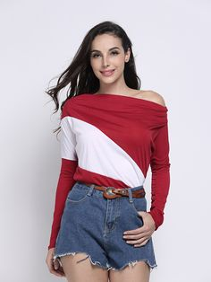 Sale 17% (12.54$) - Casual Stripe Color Block Batwing Sleeve V Neck Loose Women T-Shirt