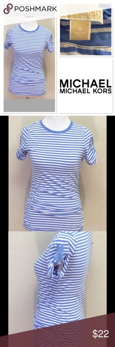 "S MICHAEL KORS blue white striped zip sleeve top Brand: Michael Kors  Style: short sleeve tee Size: small Measurements: pit to pit 15.75"" shoulder to hem 24"" Material: 95% cotton 5% elastane Features: blue and white stripes, rounded neck, zipper details on sleeves, rouched sides Condition: EUC MICHAEL Michael Kors Tops"