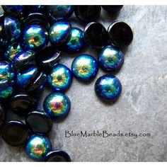 Czech Glass-Round Cabochon-9mm-Black Glass-Iris-Peacock-Jet AB-Glass... ($3.87) ❤ liked on Polyvore featuring home, home decor, peacock home decor, peacock home accessories and glass home decor