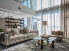 Interior Residence Mila Design With Large Glass Windows And White Sheer Curtain Also Beige Comfy Sofa Design Ideas: Luxurious Two-level Apartment of 4 MidTown Residence by Mila Design Luxury Apartments, Interior Design, Condo Living Room, Best Sofa, Sofa Design, Room, Home Decor, Living Spaces, Art Deco Living Room