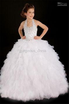 $120 High quality white halter pageant dresses for little girl tiered floor length back ziper white ball gown flower girl dress for wedding party...