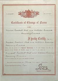 Certificate of Change of Name from Everton FC to Liverpool FC