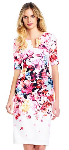Adrianna Papell | Short Sleeve Spring in Bloom Sheath Dress with Notched Accent