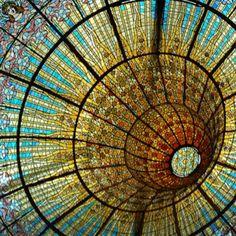 Catalan Modernisme: Stained Glass Ceiling at Palau de la Música by zelma