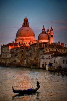 The Grand Canal in Venice at sun down