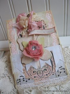 shabby chic card- LAYERED BUTTERFLIES with RHINESTONE button- handmade stitched card. $8.50, via Etsy.