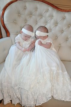 Twins in Christening gowns http://www.adorable-kids.com/Shipping_Fees_Delivery_Canada_USA_s/265.htm