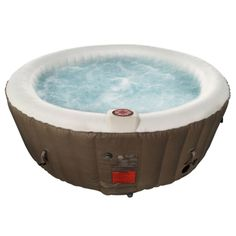 Round Inflatable Hot Tub Spa With Cover - 4 Person - 210 Gallon - Brown and White Traditional Hot Tubs, Hot Toddy Recipe For Colds, Round Hot Tub, Hot Tub Time Machine, Tubs For Sale, Tub Cover, Hot Tub Backyard, Garden Tub, Spa