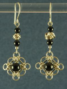 Black onyx celtic filigree chainmaille earrings by Lorraine Menard of Lorraine's Chains.