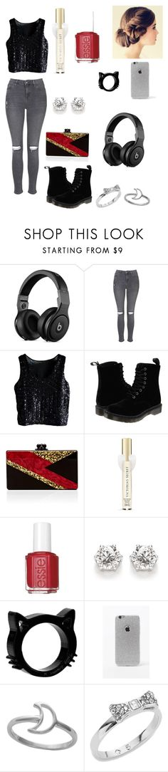 """""""Untitled #8"""" by hannahga6302 ❤ liked on Polyvore featuring Topshop, Dr. Martens, Edie Parker, Victoria's Secret, Essie, LA: Hearts, Midsummer Star and Kate Spade"""