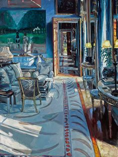 Chatsworth - The Drawing Room by Hector McDonnell Contemporary Art London, Contemporary Artists, Advanced Higher Art, High Art, Drawing Room, Landscape Art, Architecture, Interior And Exterior, Oil On Canvas