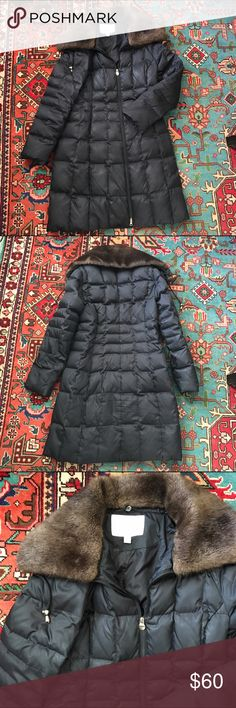 "Laundry by Shelli Segal down parka Long black down parka comes to just above knees (I'm 5""7') removable faux fur collar with drawstring. Two zippered pockets. Good condition some wear on zipper (pictured) but functions properly. No holes or rips Laundry by Shelli Segal Jackets & Coats"
