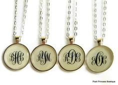 Monogram necklace Personalized Jewelry by PoshPrincessBows1, $14.99