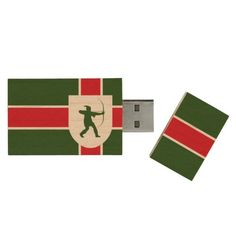 Flag of Nottinghamshire Wood USB 2.0 Flash Drive