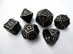 Large Dice Set 3d printed Games Dice In stainless steel and inked