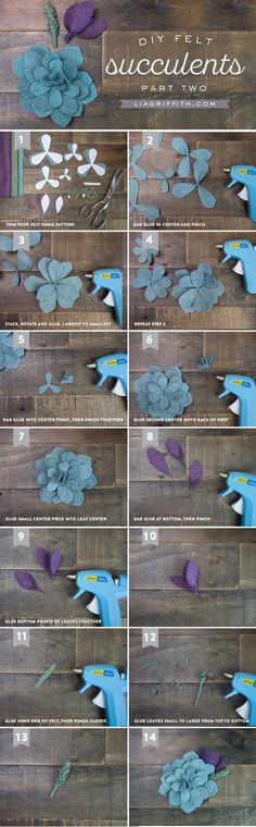 Felt Succulent Tutorial – Part 2 #succulents #feltflowers #flowers #feltcraft www.liagriffith.com