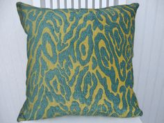 Aqua Chenille Pillow Cover- Decorative Throw Pillow Cover 18x18 or 20x20 or 22x22---Animal Print Design