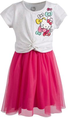 Hello Kitty Little Girls Twist-Front Dress - Ivory/Rose Cherry Daytime Dresses, Plus Size Activewear, Review Dresses, Dresses With Leggings, Mesh Dress, Toddler Fashion, Baby Clothes Shops, Trendy Plus Size, Ladies Dress Design