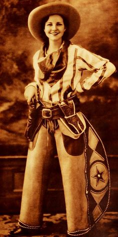 Actress Annabelle Wickstead in a wonderful Western ensemble, 1932.
