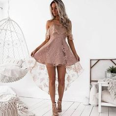 Straps short lace high low homecoming dress