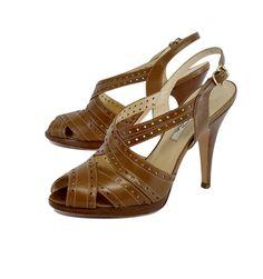 ebe6f7f745a Prada- Nude   Cream Patent Leather Sandal Heels Sz 6