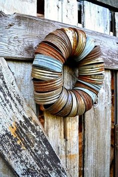 Wreath made out of old Mason Jar Rings/Lids