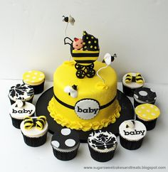 Sugar Sweet Cakes and Treats: Bumble Bee Baby Shower Cake and Cupcakes
