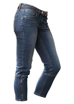 7/8-Jeans, Tamaris.  Setzen Sie Akzente mit den kontrastfarbenen Steppnähten. Schmale Five-Pocket-Form, mit Reißverschluss am Saum. Länge ca. 60 cm. Leichte Used-Waschung. 98% Baumwolle, 2% Elasthan,  ...