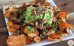Paleo Nachos - chips (sweet potatoes, sea salt), spicy chipotle chicken (chicken breasts, olive oil, chili powder, cayenne pepper, garlic powder, onion powder), guacamole (has link for recipe; I'd use the lightened up version I pinned earlier), salsa (again, includes a link, but I might use store-bought), optional toppings (jalapeno, scallions, etc.)