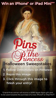"""""""Pins For The Princess"""" Halloween Sweepstakes - @Omni Hotels & Resorts #Halloween #Sweepstakes http://ow.ly/q3Yhw"""