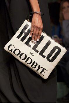Phrase Clutch - Hello and Goodbye - Karen Walker.
