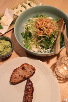 dinner on Sat. 14 Feb. 2015: before breakfast: cheese plater(mozzarella, caciocavallo & chèvre), beaf steak, whole sheet bread with nuts & dry fruits, guacamole, salad with Mizuna, Daikon, dried young sardines & tuna flakes, walnuts, red wine then buckwheat tea