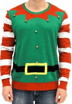 Just a straight-up Elf sweater with BELLS ON IT! It's time to ring in the holiday season with your body dancing. Complete with realistic Elf belt, and candy cane style arms – it's what all the Christm