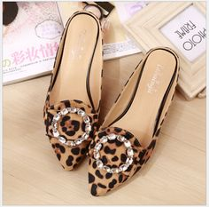 33-43 big yards for women's shoes summer 2017 diamond cool slippers female flat baotou lazy leopard slippers single shoes