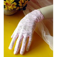 Pink Lace Embroidered Short Wedding Bridal Dress Gloves for Women SKU-11201110