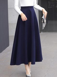 Solid Color High Waisted Big Hem Maxi Skirt - Style High Waist Big Hem Woolen Maxi Skirt The Effective Pictures We Offer You About outfits invier - Long Skirt Fashion, Maxi Skirt Style, Maxi Skirt Outfits, Modest Fashion, Dress Skirt, Girl Fashion, Fashion Dresses, Fashion Women, Fashion Ideas