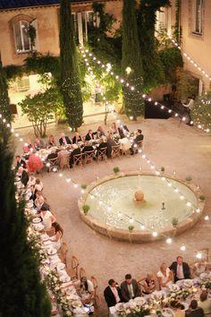 Outdoor Reception with Festoon Lights - Charlotte Simpson Wedding Dress | White…
