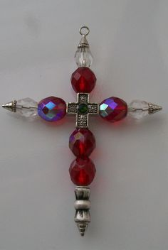 Cross, Red AB Beaded Cross Pendant, Cross Key Fob, Christian Cross Pendant - kjs