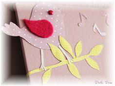 Cadre décoration éléphant/oiseau chambre enfant/bébé fille