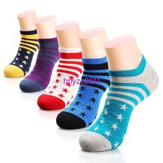5 Pairs Lot Men's HJC Polo Stars Striped Casual Cotton Socks Sport No Show Ankle #Unbranded #AnkleSock